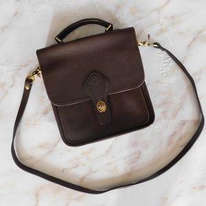 Georgetown Brown Leather satchel flap buckle bag